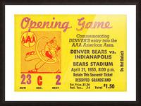 1955 aaa baseball denver bears opening game baseball ticket stub frame canvas Picture Frame print