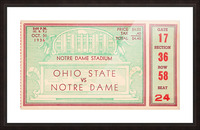 1936 notre dame ohio state football ticket stub sports art Picture Frame print