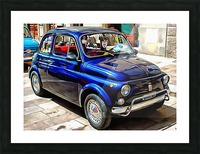 Fiat 500 Dark Blue Version Picture Frame print