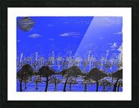 Trees vs sun blue Picture Frame print