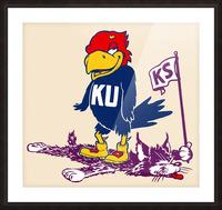 Vintage Kansas Jayhawk Standing Over K-State Wildcat Art Picture Frame print