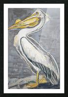 Louisiana White Pelican with Metallic Silver Picture Frame print