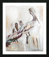 Louisiana Pelicans in the Fog with Metallic Silver Picture Frame print