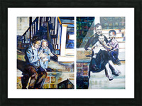 Louisiana father and Mother at the Stairs Diptych with Vintage Recipe Collage Picture Frame print