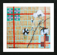 Louisiana Quilt with Cotton  and Vintage Company Store Receipts Picture Frame print