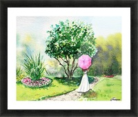 Girl With Pink Umbrella Picture Frame print