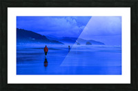 Woman in Red on Blue Beach Picture Frame print