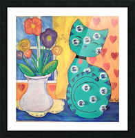 Teal Kitty Picture Frame print