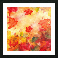 Welcome Fall Red Green Yellow Birch Oak Maple Watercolor Leaves Picture Frame print