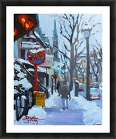 Montreal Winter St-Denis Picture Frame print