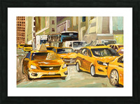 Cabs rushing By Picture Frame print