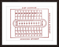 1940 Oklahoma Football Owen Field Map Picture Frame print