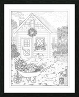 Autumn Cottage Coloring Page Picture Frame print