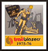 1975 Portland Trailblazers Art Picture Frame print