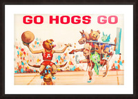 1984 Arkansas Cartoon Basketball Art Picture Frame print