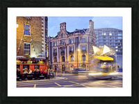 City street with people outside of pub at night Dublin Ireland Picture Frame print