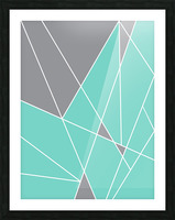 Gray Teal Triangles Geometric Art GAT101-2 Picture Frame print