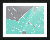Gray Teal Triangles Geometric Art GAT101-3 Picture Frame print