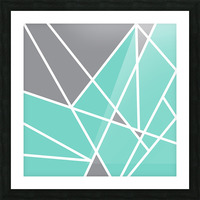 Gray Teal Triangles Geometric Art GAT101 square Picture Frame print