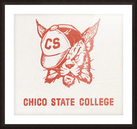 1950s Chico State College Wildcat Art Picture Frame print