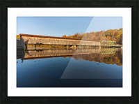Harpersfield covered bridge and reflection Ashtabula County Ohio Picture Frame print