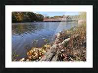 Harpersfield Ohio covered bridge in autumn from east side Picture Frame print