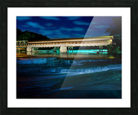 Night image of Harpersfield Covered Bridge over Grand River Ohio Picture Frame print