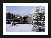 Harpersfield Ohio covered bridge winter and snow Picture Frame print