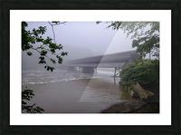 Harpersfield Ohio covered bridge in fog Picture Frame print
