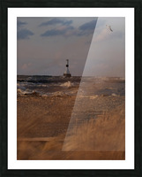 Conneaut Ohio lighthouse during storm Picture Frame print