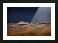Lighthouse at Conneaut Ohio on Lake Erie during storm Picture Frame print