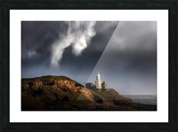 Mumbles lighthouse in the rain Picture Frame print
