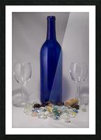 Blue Wine Bottle Picture Frame print