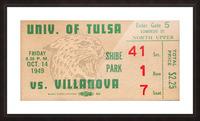 1949 Tulsa vs. Villanova Football Ticket Stub Wall Art Picture Frame print