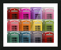 Multicoloured telephone boxes Picture Frame print