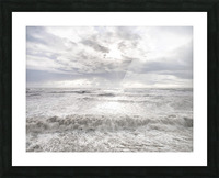 Rough and stormy sea at dusk, Charmouth, Dorset, UK Picture Frame print