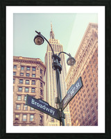 Street lamp and street signs with Empire State building in background - New York Picture Frame print