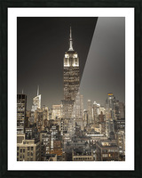 Empire State Building with New York City Manhattan skyline with skyscrapers Picture Frame print