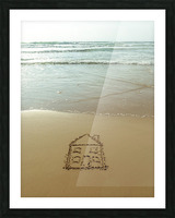 Sweet home drawn on sand at the beach Picture Frame print