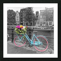 Bicycle with bunch of roses on bridge, Amsterdam Picture Frame print