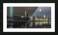 Column of spectra lights with Westminster Abby, London, UK Picture Frame print