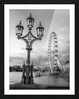 Street lamp with London Eye, London, UK Picture Frame print