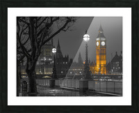 London cityscape in evening from Thames promenade Picture Frame print