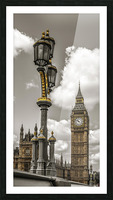 Street lamp with Big Ben in background, London, UK Picture Frame print