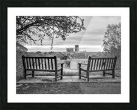 Park benches with Durham Cathedral in background Picture Frame print