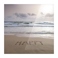 Sand writing - Word Happy written on beach Picture Frame print
