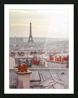 Eiffel Tower seen through the window of an apartment in Montmartre, Paris, France Picture Frame print