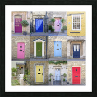 Collage of old doors, Cotswold, UK Picture Frame print