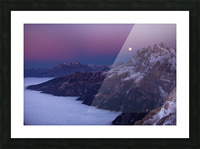 Full Moon over a sea of clouds Picture Frame print