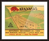 1959 Arkansas Football Ticket Art Picture Frame print
